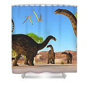 Apatosaurus Forest Shower Curtain
