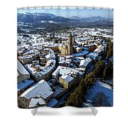 Apiro Italy In The Snow - Aerial Image. Shower Curtain