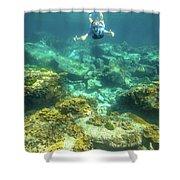 Apnea In Tropical Sea Shower Curtain