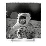 Apollo 12 Moonwalk Shower Curtain