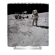 Apollo 16 Astronaut Collects Samples Shower Curtain