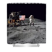 Apollo 16 Astronaut Leaps Shower Curtain