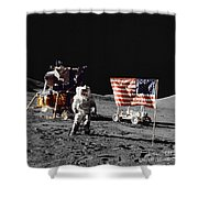 Apollo 17 Astronaut Stands Shower Curtain
