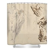 Apollo And Studies Of The Artist's Own Hand [recto] Shower Curtain
