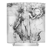 Apollo With The Solar Disc Shower Curtain