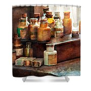 Apothecary - Chemical Ingredients  Shower Curtain by Mike Savad