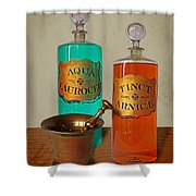 Apothecary Bottles And Brass Pestle And Mortar Shower Curtain