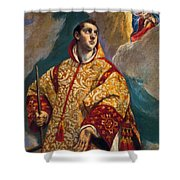 Apparition Of The Virgin To St Lawrence Shower Curtain
