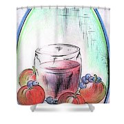 Apple And Blueberry Drink Shower Curtain