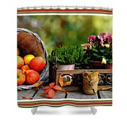 Apple Basket And Other Objects Still Life L B With Alt. Decorative Ornate Printed Frame. Shower Curtain