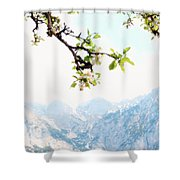 Apple Blossoms And Mountains Shower Curtain