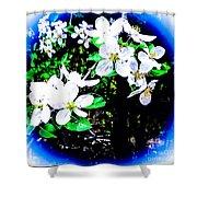 Apple Blossoms In Blue White Mist Shower Curtain