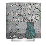 Apple Blossoms In Turquoise Vase Shower Curtain