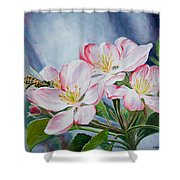 Apple Blossoms With Honeybee Shower Curtain