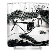 Apple Farm In Winter Shower Curtain