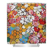 Apple Honeycomb Blossoms 201760 Shower Curtain