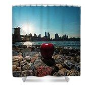 Apple On The Rocks Shower Curtain