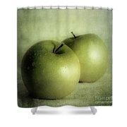Apple Painting Shower Curtain by Priska Wettstein
