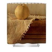 Apple Pear On A Table Shower Curtain by Priska Wettstein