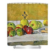 Apples And Biscuits Shower Curtain by Paul Cezanne