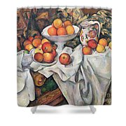 Apples And Oranges Shower Curtain by Paul Cezanne
