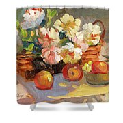 Apples And Peonies Shower Curtain
