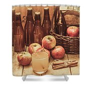 Apples Cider By Wicker Basket On Wooden Table Shower Curtain