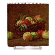 Apples In A Basket And On A Table Shower Curtain by Ignace Henri Jean Fantin-Latour
