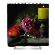 Apples Rose And Candlestick On Tray Stl712923 Shower Curtain
