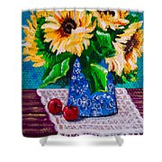 Apples  Sunflowers Shower Curtain