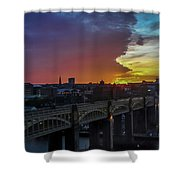Approaching Storm At Sunset Shower Curtain