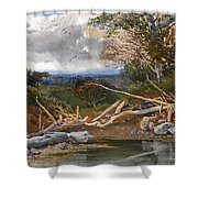 Approaching Storm In A Wooded Landscape Shower Curtain
