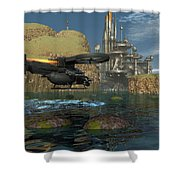 Approaching The Landing Pad Shower Curtain