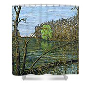 April Willow On Milwaukee River Shower Curtain