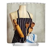 Apron With Utensils Shower Curtain