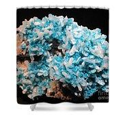 Aqua And White Gemstone Shower Curtain