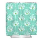 Aqua And White Palm Leaves- Art By Linda Woods Shower Curtain