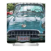 Aqua Blue 1959 Corvette  Shower Curtain