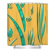 Aqua Design On Gold Shower Curtain