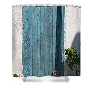 Aqua Door Textures Shower Curtain