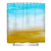 Aqua Gold Abstract Painting Shower Curtain