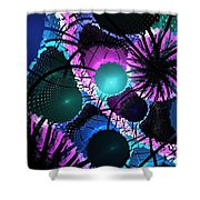 Aqua Lilac Blooms Shower Curtain