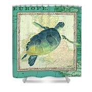Aqua Maritime Sea Turtle Shower Curtain