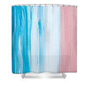 Aqua Pink Abstract Painting Shower Curtain