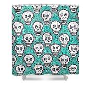Aqua Skull Pattern Shower Curtain