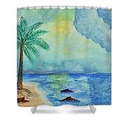 Aqua Sky Ocean Scene Shower Curtain