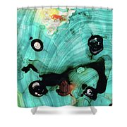 Aqua Teal Art - Volley - Sharon Cummings Shower Curtain