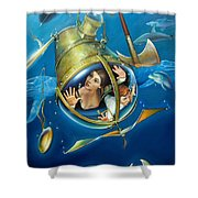 Aquaria Rising From Mask Of The Ancient Mariner Shower Curtain