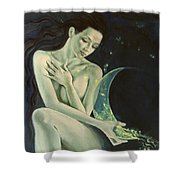 Aquarius From  Zodiac Signs Series Shower Curtain by Dorina  Costras