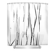 Aquatic Reeds Black And White Shower Curtain